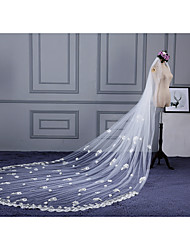 Wedding Veil One-tier Elbow Veils Cathedral Veils Cut Edge Lace Applique Edge Lace Tulle