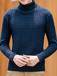 Normal Pullover Homme Décontracté / Quotidien Travail Couleur Pleine Col Roulé Manches Longues Polyester Automne Hiver Moyen