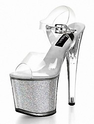 preiswerte -Damen Schuhe Glitzer PVC Sommer formale Schuhe Sandalen Stöckelabsatz Peep Toe Glitter Schnalle für Kleid Party & Festivität Schwarz Grau