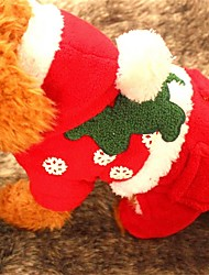 cheap -Dog Hoodie Dog Clothes Christmas Solid Ruby