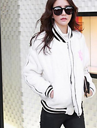 Women's Casual/Daily Hoodie Jacket Solid Print Stand Inelastic Faux Fur Long Sleeve Fall