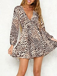 Women's Party Going out Club Sexy Street chic Bodycon Sheath DressLeopard Deep V Mini Long Sleeves Pleated Slim Classic  Spring Fall High Rise