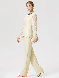 cheap -Sheath / Column Pantsuit Jewel Neck Floor Length Chiffon Lace Mother of the Bride Dress with Lace by LAN TING BRIDE®