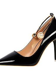 Women's Heels Comfort Summer Fall Leatherette Dress Party & Evening Office & Career Imitation Pearl Stiletto Heel Black Silver Ruby