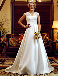 cheap -A-Line Princess V-neck Court Train Lace Taffeta Wedding Dress with Pearl Detailing Ruching by LAN TING BRIDE®