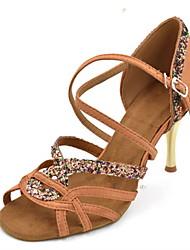 "cheap -Women's Latin Sparkling Glitter Silk Sandal Performance Splicing Stiletto Heel Black Purple Brown 3"" - 3 3/4"" Customizable"