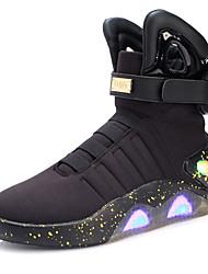 Herren Stiefel Walking Neuheit Leuchtende LED-Schuhe Gestrickt Leder Tüll Herbst Winter Normal Klett LED Niedriger Absatz Schwarz Beige