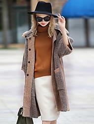 Cappotto Da donna Casual Per uscire Vintage Autunno Inverno,Monocolore Con cappuccio Poliestere Lana d'angora Standard