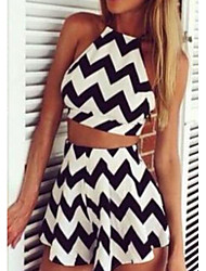 cheap -Women's Going out Casual Summer T-shirt Skirt Suits,Striped Strap Sleeveless Spandex
