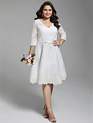 cheap -A-Line V-neck Knee Length Lace Wedding Dress with Appliques Bow(s) Buttons Sashes/ Ribbons by LAN TING BRIDE®
