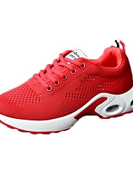 cheap -Women's Shoes PU Spring Fall Comfort Athletic Shoes Flat Heel for Casual White Black Red