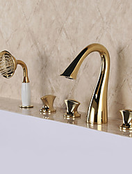 cheap -Luxury Glam Classic Widespread High Quality Brass Valve Three Handles Five Holes Ti-PVD, Bathtub Faucet