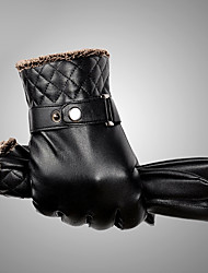 Men's Telefingers Genuine Leather Fur Wrist Length Fingertips Windproof Keep Warm Waterproof High Quality Fashion Black