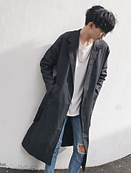 cheap -Men's Daily Going out Simple Casual Spring Fall Trench Coat,Solid Peaked Lapel Long Sleeve Long Cotton Polyester Others