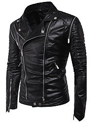 Men's Daily Simple Casual Winter Fall Leather Jacket,Solid Round Neck Long Sleeve Regular PU