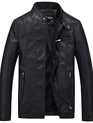 Men's Daily Vintage Winter Fall Leather Jacket,Solid Stand Long Sleeve Regular PU