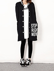 Women's Casual/Daily Street chic Spring Fall Trench Coat,Letter Stand Long Sleeve Long Cotton