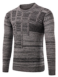 cheap -Men's Daily Sports Weekend Going out Casual Cut Out Solid Round Neck Pullover, Long Sleeves Winter Fall Wool