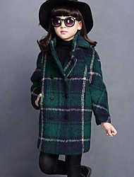 cheap -Girls' Plaid Jacket & Coat,Cotton Winter Fall Long Sleeve Check Green Red Gray