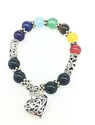 Colorful Peach Multi-Color Agate Beads Bracelet
