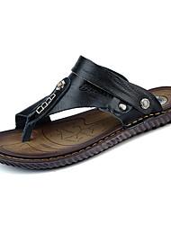 Da uomo Sandali Comoda Estate Pelle Casual Piatto Nero Blu marino 5 - 7 cm
