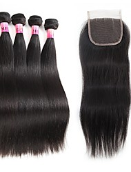 100% Virgin Brazilian Weave 8A Remy Human Hair for Cheap Body Wave 5pcs/Lot Of One Virgin Brazilian Wavy Three Part Hair Closure (4*4) Natural Color