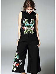 Women's Going out Street chic Fall Tank Top Pant Suits,Print Stand Sleeveless Micro-elastic
