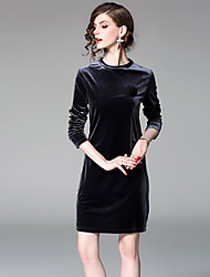 cheap -EWUS Women's Daily Going out Street chic Sheath Dress,Solid Round Neck Above Knee 3/4 Length Sleeves Polyester Summer Fall Mid Rise
