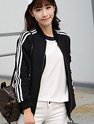 Women's Daily Hoodie Jacket Striped Stand Inelastic Cotton Long Sleeve Fall
