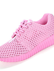 cheap -Women's Shoes Breathable Mesh Spring Summer Comfort Light Soles Athletic Shoes Flat Heel Round Toe Lace-up For Casual Dress Outdoor White