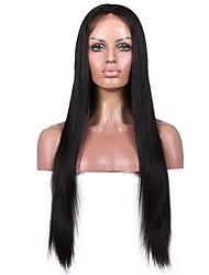 Premier® Brazilian Unprocessed Human Virgin Hair Yaki Straight Glueless Lace Front Hair Wigs For Women
