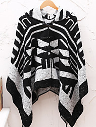 Women Vintage Cloak Cape Bohemian Tassels Fringed Shawl Wrap Scarf Wool Acrylic Rectangle Print Spring Fall Black Hooded/Hoodie