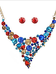 cheap -Women's Geometric Jewelry Set - Bohemian, Fashion, Boho Include Stud Earrings Necklace Rainbow / Red / Blue For Wedding Party Birthday