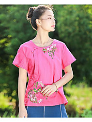Women's Casual/Daily Chinoiserie T-shirt,Solid Floral Round Neck Short Sleeves Cotton Linen
