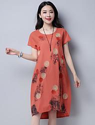 Women's Casual/Daily T Shirt Dress,Print Round Neck Above Knee Short Sleeve Cotton Summer Mid Rise Inelastic Medium