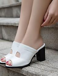 Da donna Scarpe PU (Poliuretano) Estate Comoda Sandali Quadrato Per Casual Bianco Nero