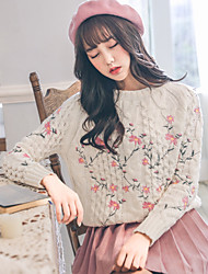 Women's Casual/Daily Regular Pullover,Print Round Neck Long Sleeves Polyester Spring Thin Stretchy