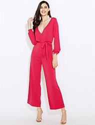 cheap -Women's Daily Going out Casual Sexy Solid V Neck Jumpsuits,Wide Leg Long Sleeve Spring Fall Polyester