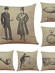Set of 6 Retro Invention Pattern Linen Cushion Cover Home Office Sofa Square Pillow Case Decorative Cushion Covers Pillowcases (18*18Inch)