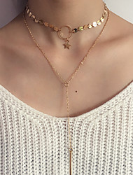 Women's Layered Necklaces Circle Oval Round Star Geometric Jewelry Alloy Tassel Personalized Luxury Simple Style Classic Elegant Fashion