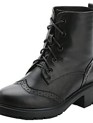 cheap -Women's Shoes Leather Cowhide Winter Fall Motorcycle Boots Combat Boots Riding Boots Fashion Boots Boots Chunky Heel Platform Round Toe