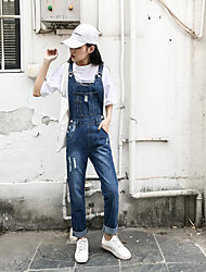 cheap -Women's Slim Overalls Pants - Solid Colored High Rise