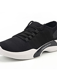 cheap -Men's Sneakers Comfort Fall Winter Breathable Mesh Tulle Fabric Walking Shoes Casual Outdoor Lace-up Flat Heel White Black Gray Flat