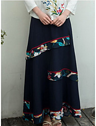 YOUJIN Women's Casual/Daily Maxi Skirts A Line Solid Floral Print Summer