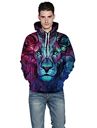 Men Realistic 3d Digital Print Pullover Sports Outdoor Casual Active Hoodie Hooded Inelastic Polyester Long Sleeve Spring Fall Rainbow