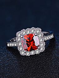preiswerte -Damen Bandringe Synthetischer Rubin Modisch Elegant Sterling Silber Quadatische Form Schmuck Für Hochzeit Verlobung Alltag Zeremonie