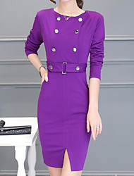 Women's Going out Casual/Daily Cute A Line Bodycon Dress,Solid Round Neck Above Knee Long Sleeves Cotton Acrylic Polyester Spring Fall