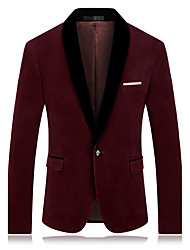 cheap -Men's Daily Going out Work Simple Casual Sexy Winter Fall Regular Blazer,Solid Color Block Notch Lapel Cotton Polyester
