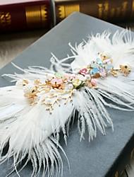 cheap -Imitation Pearl Feather Alloy Flowers Hair Clip Hair Claws Headpiece