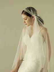 Uma Camada Corte da borda Véus de Noiva Véu Ponta dos Dedos Com Fru-Fru Tule